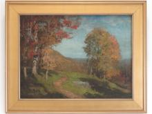 """SHELDON PARSONS (AMERICAN 1866-1943), OIL ON CANVAS, AUTUMN LANDSCAPE, UNSIGNED. 24 X 32""""; FRAMED 32 X 40"""" (RELINED) NOTE: PURCHASED AT ARTIST'S ESTATE AUCTION"""