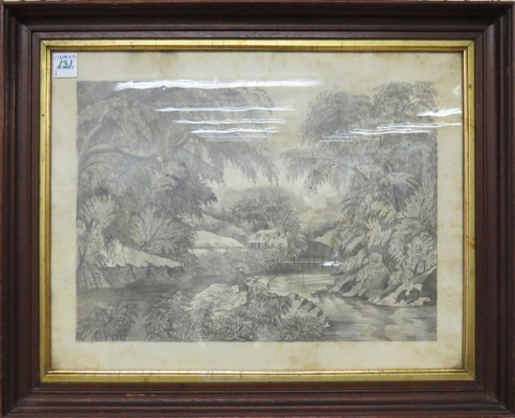 HARRIETTE M. LANDON (AMERICAN 1896-1997), GRAPHITE, FISHING ALONG THE HOUSATONIC RIVER, SIGNED VERSO. FRAMED AND GLAZED-17 1/2 X 21 1/2