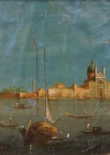 ITALIAN SCHOOL (19/20TH CENTURY), OIL ON CANVAS LAID ON MASONITE, VENETIAN CANAL WITH GONDOLIERS, UNSIGNED, AFTER CANALETTO. 20 X 15 1/2