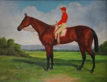 AMERICAN SCHOOL (20TH CENTURY), OIL ON CANVAS, JOCKEY ON A RACING HORSE, SIGNED SHIPLEY. 8 X 10