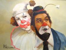 EARL BLOOSM (AMERICAN 1891-1970), OIL ON CANVAS, PAIR OF CLOWNS, SIGNED. 11 X 15