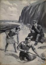 AMERICAN SCHOOL (20TH CENTURY), OIL ON CANVAS EN GRASILLE, MEN'S MAGAZINE ILLUSTRATION DIGGING FOR TREASURE, UNSIGNED. 28 X 18
