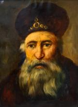 AMERICAN/ISRAELI SCHOOL (20TH CENTURY), OIL ON CANVAS, PORTRAIT OF A RABBI IN AN OLD MASTER STYLE, SIGNED SCHAEPMAN. 16 X 12
