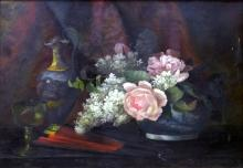AMERICAN SCHOOL (19TH CENTURY), OIL ON CANVAS, ARRANGEMENT WITH ROSES, UNSIGNED. 16 X 22