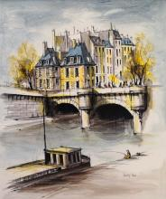 FRENCH SCHOOL (20TH CENTURY), OIL ON CANVAS, PARISIAN RIVER SCENE WITH BRIDGE, SIGNED. 24 X 20