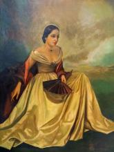 JORGE LEON CAMARERA (SPAIN/AMERICA 1900-), OIL ON CANVAS, PORTRAIT OF A WEALTHY WOMAN, SIGNED. 44 X 34