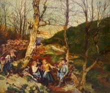 CONTINENTAL SCHOOL (19/20TH CENTURY), OIL ON BOARD, FALL LANDSCAPE WITH CHILDREN PLAYING, UNSIGNED. 21 X 25 1/4