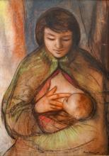 ENRICO FORNIANI (ITALIAN 1957-) MIXED MEDIA PAPER LAID ON BOARD, MOTHER AND CHILD, SIGNED AND DATED. SIGHT 28 X 20