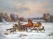 RUSSIAN SCHOOL (20TH CENTURY), OIL ON CANVAS, SLED BEING ATTACKED BY WOLVES, SIGNED. 24 X 30