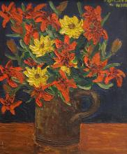 FRENCH SCHOOL (20TH CENTURY), OIL ON CANVAS, VASE WITH FLOWERS, SIGNED K. NORMS JULY 2008. 15 1/2 X 12