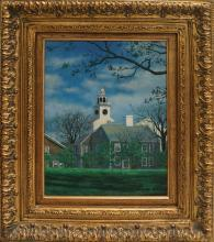 AMERICAN SCHOOL (20TH CENTURY), OIL ON CANVAS, NEW ENGLAND TOWN, SIGNED GRAFF. 16 X 12
