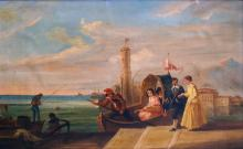 CHARLES L. ANDREWS (BRITISH 19TH CENTURY), OIL ON CANVAS, FIGURES IN A GONDOLA, SIGNED. 14 1/2 X 22