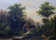 AMERICAN SCHOOL (19TH CENTURY), OIL ON CANVAS, LANDSCAPE WITH MILL, UNSIGNED. 14 X 18 1/2