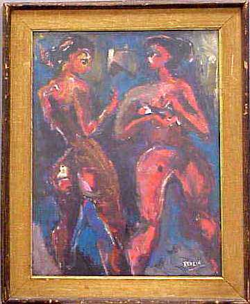 TEMPERA/PAPER, TWO WOMEN, SIGNED