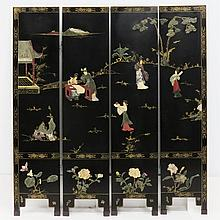 CHINESE HARD STONE MOUNTED LACQUER SCREEN. HEIGHT