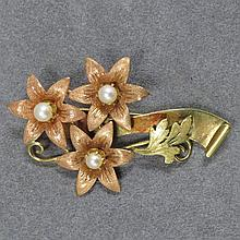 14K YELLOW & PINK GOLD FLORAL BROOCH
