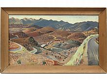 """MARY ELIZABETH PARTRIDGE (AMERICAN 1910-), OIL ON CANVAS, ASHCAN LANDSCAPE, SIGNED VERSO. 18 X 31""""; FRAMED 22 1/4 X 35 1/4"""""""