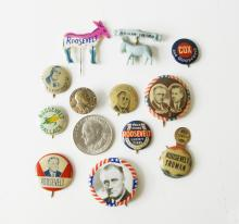 LOT (14) ASSORTED F.D.R., 1932-1944 PRESIDENTIAL CAMPAIGN PINS, COIN AND PIN BACK BUTTONS
