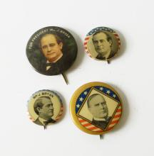 LOT (4) INCLUDING (3) WILLIAM JENNINGS BRYAN, 1896/1900 PRESIDENTIAL CAMPAIGN PIN BACK BUTTONS; (1) WILLIAM MCKINLEY 1900 PRESIDENTIAL CAMPAIGN PIN BACK BUTTON