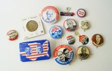 LOT (16) ASSORTED PRESIDENTIAL CAMPAIGN PINS/COIN INCLUDING (3) HARRY TRUMAN, 1948; (4) ADLAI STEVENSON, 1952; (1) BARRY GOLDWATER/MILLER, 1964; (3) GEORGE WALLACE/LE MAY, 1968; (2) RICHARD NIXON, 1968/72; (2) GEORGE MCGOVERN/EAGLETON, 1972; (1) JIMMY CARTER, 1976