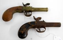 LOT (2) BELGIAN/CONTINENTAL CANNON BARREL PERCUSSION BOOT/MUFF PISTOLS, C.1840. LENGTH 5 3/4-7