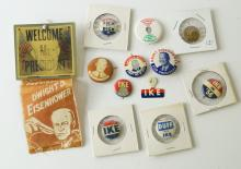 LOT (12) ASSORTED DWIGHT EISENHOWER, 1952/56 PRESIDENTIAL CAMPAIGN PINS, RIBBON AND PIN BACK BUTTONS