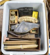 LOT ASSORTED VINTAGE AMMUNITION, BOXES, SPENT SHELLS AND CLEANING RODS, HOLSTERS, US CARTRIDGE CASE