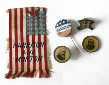 LOT (5) ASSORTED BENJAMIN HARRISON, 1888 PRESIDENTIAL CAMPAIGN LAPEL PINS, SILK AND PIN BACK BUTTONS