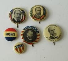 LOT (6) ASSORTED CHARLES E. HUGHES, 1916 PRESIDENTIAL CAMPAIGN PIN BACK BUTTONS