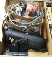 LOT ASSORTED GUN SUPPLIES, SPOTTING AND RIFLE SCOPES, GUN SOCKS, SLINGS, ETC