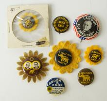 LOT (8) ASSORTED LANDON/KNOX 1936 PRESIDENTIAL CAMPAIGN PIN BACK BUTTONS