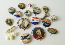 LOT (16) ASSORTED WENDELL WILLKIE 1940 PRESIDENTIAL CAMPAIGN PINS AND PINBACK BUTTONS