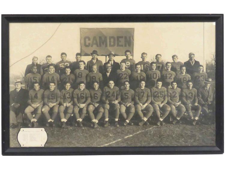 VINTAGE PHOTOGRAPH, 1933 CAMDEN (NJ) HIGH SCHOOL FOOTBALL TEAM. FRAMED AND GLAZED-28 X 43