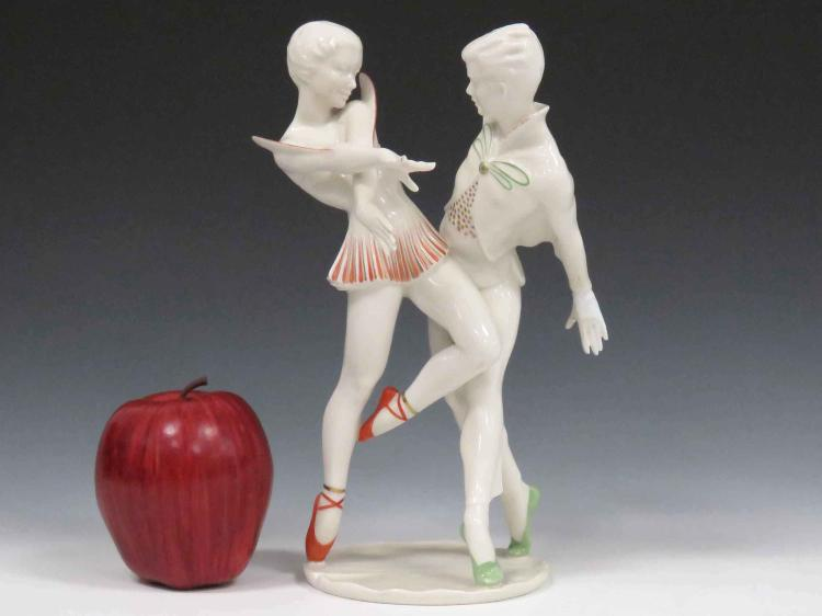 HUTSCHENREUTHER ART DECO DECORATED PORCELAIN FIGURAL GROUP, 20TH CENTURY. HEIGHT 9 1/2