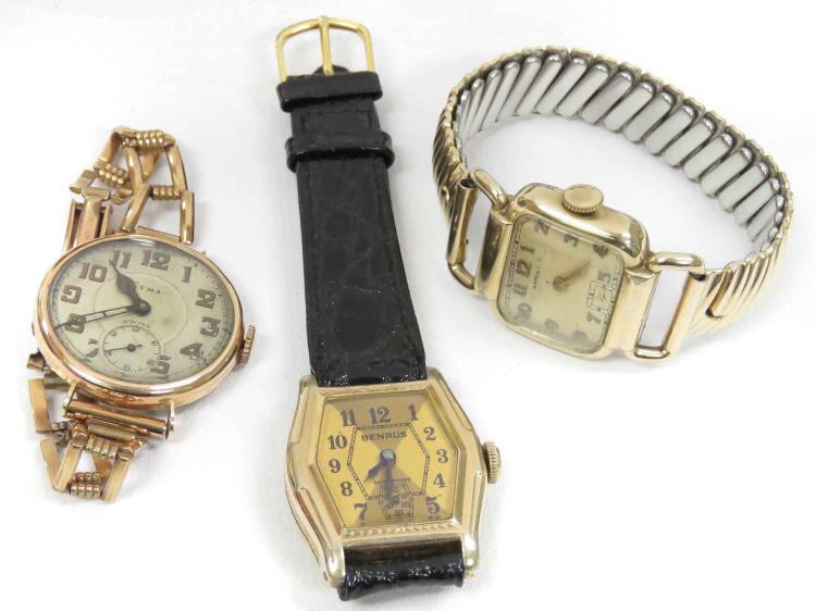 LOT (3) VINTAGE/RETRO WRISTWATCHES INCLUDING HAMILTON GOLD FILLED 17-JEWEL WITH BRACELET BAND; BENRUS GOLD FILLED 7-JEWEL WITH LEATHER STRAP; CYMAN GOLD 15-JEWEL WITH BRACELET BAND (MISSING CASE BACK)