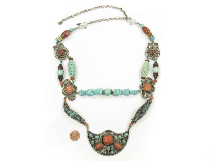 TIBETAN SILVER/TURQUOISE AND CORAL NECKLACE. LENGTH 34