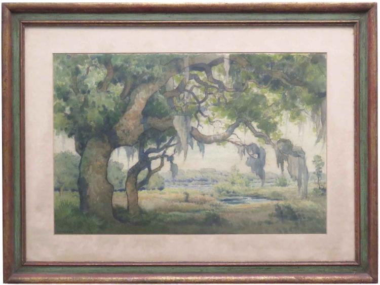 WILLIAM F. KRONDORF (AMERICAN 1876-1968), WATERCOLOR, LANDSCAPE, SIGNED. 12 X 17 1/2