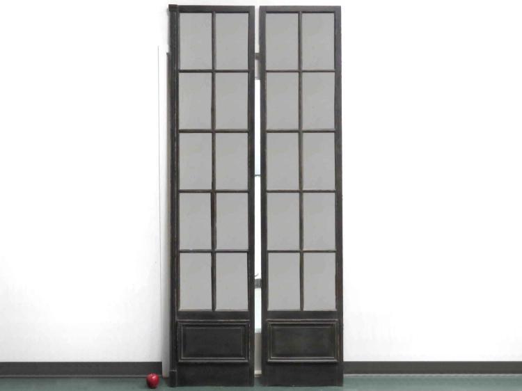 PAIR DECORATOR MIRRORED FRENCH DOORS. HEIGHT 96