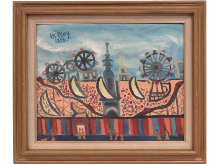 HAROLD LEROY (AMERICAN 1905-), OIL ON CANVAS BOARD, LUNA PARK, SIGNED 1938. 16 X 20