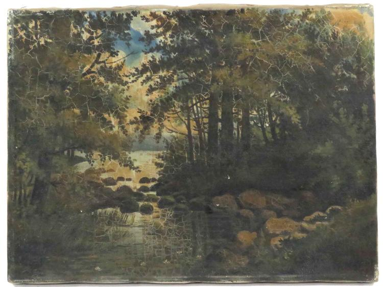 AMERICAN SCHOOL (20TH CENTURY), OIL ON CANVAS, WOODED GLEN, SIGNED H.M. KENT '07. 9 X 12