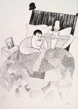 AL HIRSCHFELD (AMERICAN 1903-2006), LITHOGRAPH, LAUREL AND HARDY, SIGNED (IN PENCIL) #387/500. SHEET 27 X 21