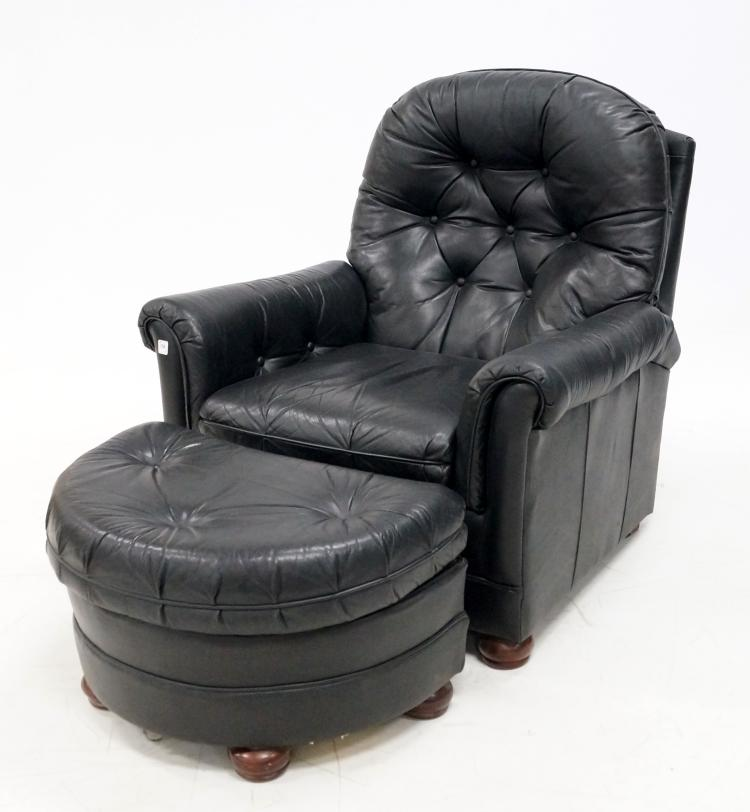 lot 102 black leather recliner armchair with ottoman