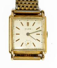 VINTAGE LUSINA GENEVE 18K YELLOW GOLD 18-JEWEL MECHANICAL TANK-FORM WRISTWATCH WITH KRIESLER GOLD-FILLED BAND