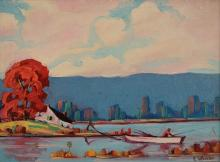 C. WHEELER (AMERICAN 20TH CENTURY), OIL ON CANVAS BOARD, FISHERMAN ON THE HUDSON, SIGNED. 9 X 12