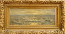 THOMAS ALEXANDER HARRISON (AMERICAN 1853-1930), OIL ON CANVAS, SEASCAPE, SIGNED. 10 7/8 X 28