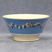 MOCHA WARE BOWL WITH DRUNKEN SNAIL DECORATION