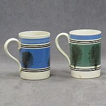 LOT (2) BANDED AND SEA WEED DECORATED MOCHA WARE