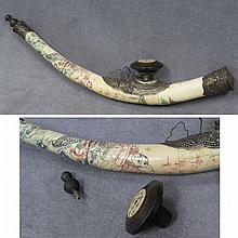 VINTAGE CHINESE ENGRAVED BONE PIPE