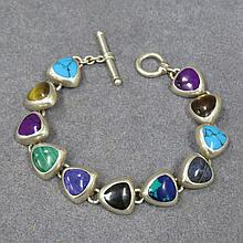 SILVER GEM SET PANELED BRACELET