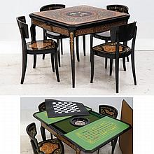 ITALIAN LACQUERED AND INLAID GAMING TABLE